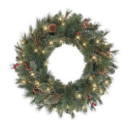 Paley Park Christmas Pine Wreath - SPRUCE UP YOUR FIREPLACE WITH THE RUSTIC APPEAL OF TREE CLASSICS' PARLEY PARK CHRISTMAS PINE WREATH