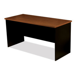 """Bestar - Innova Free Standing Table in Tuscany Brown & Black - Innova conjugates working and living with style. It offers various storage possibilities for an organized work environment. Durable 1"""" commercial grade work surfaces with melamine finish that resist scratches, stains and wear."""