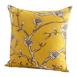 Cyan Design - Cyan Design Nature Lover Pillow X-31560 - Add vibrancy to your home with this Cyan Design decorative pillow. From the Nature Lover Collection, this elegant pillow features a bold, vibrant yellow hue complimented by a modern floral pattern done in shades of brown, taupe and cream. It has been filled with down and feathers for added comfort.