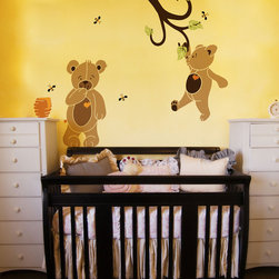 My Wonderful Walls - Teddy Bear Wall Stencil Kit for Painting - - Stencil kit includes: 2 teddy bear stencils, 1 branch stencil, 3 leaf stencils, 1 beehive stencil and 2 bee stencils