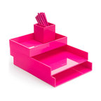 Poppin - Desktop, Pink - Bundle includes: Pink Letter Trays; Pink Accessory Tray; Pink Pen Cup; 1 box Pink Signature Ballpoints