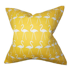 The Pillow Collection - Elili Animal Print Pillow Yellow - Add some quirky touch to your interiors with this funky throw pillow. A flamingo pattern is printed against a yellow background giving this accent pillow a unique look. This decor pillow is perfect for your children's room, living room or bedroom. Pair it with the same pattern or mix it up with solids for a modern decor style. 100% cotton and US-made. Hidden zipper closure for easy cover removal.  Knife edge finish on all four sides.  Reversible pillow with the same fabric on the back side.  Spot cleaning suggested.