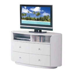 Global Furniture - 4 Drawer Entertainment Unit in White Finish - 4 Drawers. Made of MDF and paper veneer. 47 in. W x 22 in. D x 29 in. H (187 lbs.)