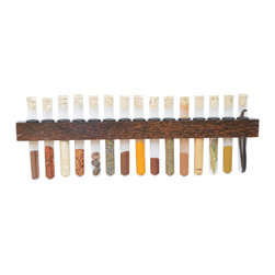Black Palm Test Tube Spice Rack - Made from Black Palm that originates in Tropical Asia and Africa, this 15 test tube spice rack is visually appealing due to it stark black palm fibers embedded in its soft warm brown wood.  It is protected by several layers of all natural tung wood and includes all 200 mL test tubes, rings, corks and mounting equipment.