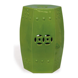 Kathy Kuo Home - Green Apple Modern Asian Garden Seat Bunching Stool - This Asian-inspired garden stool is the perfect perch. Colorful, stylish and portable, it can serve as an end table in the living room, a stand for potted plants outdoors or even as extra seating for last-minute guests. When not in use, tuck it under a console where it will sit pretty until duty calls.