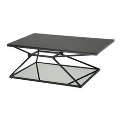 """Sunpan Modern - Wedge Coffee Table - One of their most interesting new pieces. This coffee table looks different from every angle. The top surface is 8mm tempered black glass. An incredibly modern addition to any space. Features: -Material: Steel.-8mm tempered glass.-Black painted steel frame.-Bottom is mirrored glass.-Finish: Matte black.-Collection: Wedge.-Style: Contemporary.-Top Finish: Matte Black .-Distressed: No.-Powder Coated Finish: No.-Gloss Finish: No.-Wrought Iron: No.-Top Material: Glass.-Base Material: Steel / Glass.-Number of Items Included: 1.-Non-Toxic: Yes.-UV Resistant: No.-Scratch Resistant: No.-Stain Resistant: Yes.-Moisture Resistant: Yes.-Design: Rectangle.-Drop Leaf: No.-Shape: Rectangle.-Lift Top: No.-Tray Top: No.-Storage Under Tabletop: No.-Folding: No.-Magazine Rack: No.-Built In Clock: No.-Powered: No.-Nested Stools Included: No.-Casters: No.-Exterior Shelves: No.-Cabinets Included: No.-Drawers Included: No.-Corner Block: No.-Cable Management: No.-Adjustable Height: No.-Glass Component: Yes -Tempered Glass: Yes.-Beveled Glass: No.-Frosted Glass: No..-Upholstered: No.-Outdoor Use: No.-Swatch Available: No.-Commercial Use: Yes.Dimensions: -Overall Height - Top to Bottom: 17"""".-Overall Width - Side to Side: 43.5"""".-Overall Depth - Front to Back: 25.75"""".-Table Top Thickness: 1"""".-Table Top Width - Side to Side: 43.5"""".-Table Top Depth - Front to Back: 25.75"""".-Drawers: No.-Shelving: No.-Cabinets: No.-Legs: Yes.-Overall Product Weight: 73 lbs."""