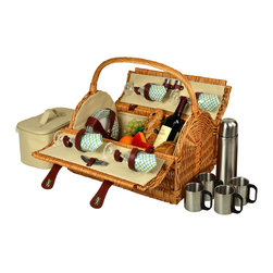 Picnic At Ascot - Yorkshire Picnic Basket for Four with Coffee Set, Wicker/Gazebo - Unique hand crafted deluxe picnic basket in full reed willow with attractive dome top shape & top carry handle.  Includes a premium picnic set for four with ceramic plates, matching cotton napkins, glass wine glasses, stainless steel flatware, corkscrew, and no spill salt & pepper shakers. Also includes a convenient food cooler and coffee set with stainless steel coffee flask and mugs.