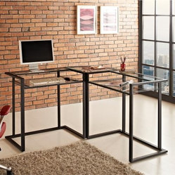 Walker Edison Glass Metal C-Frame Corner Computer Desk - Black - Get the corner on a modern office with the Walker Edison Glass Metal C-Frame Corner Computer Desk - Black. This sleek desk offers elevated, built-in shelves that provide optimal work space and satisfies space-savings needs. The thick, tempered safety glass and textured, black powder-coated steel together create a solid construction with a look that is both attractive and simple. Enjoy the L-shaped design, with one surface for keyboard and monitor, and another for writing and organizing files.About Walker EdisonSpecializing in quality furniture at low prices, Walker Edison Furniture Company manufactures a wide variety of furniture pieces for the North American marketplace. From bedroom furniture and desks, to coffee tables, dining tables, and TV stands, Walker Edison provides practical decor solutions for today's functional homes. With factories strategically located all over the world, Walker Edison balances cost with low-priced raw materials and skilled artisans to deliver smart furniture pieces that fit every budget.This item carries a 1-year warranty against structural failure, provided the furniture is assembled correctly, is subjected to normal use.