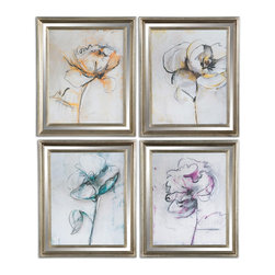 Uttermost - Jesters Floral Art Set of 4 - Flowers add delight to every setting. This set of prints features four delicately sketched flowers with a hint of color in each. The lovely pictures come in a silver leaf frame and ready to hang. Together they make a stunning impression.