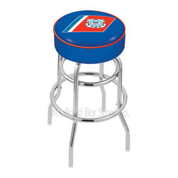 """Holland Bar Stool - Holland Bar Stool L7C1 - 4 Inch U.S. Coast Guard Cushion Seat - L7C1 - 4 Inch U.S. Coast Guard Cushion Seat w/ Double-Ring Chrome Base Swivel Bar Stool belongs to Military Collection by Holland Bar Stool Made for the ultimate sports fan, impress your buddies with this knockout from Holland Bar Stool. This L7C1 retro style logo stool has a 4"""" cushion with a tough double-ring base and a chrome finish. Holland Bar Stool uses a detailed screen print process that applies specially formulated epoxy-vinyl ink in numerous stages to produce a sharp, crisp, clear image of your desired logo. You can't find a higher quality logo stool on the market. The structure is triple chrome-plated to ensure a rich, polished finish that will last ages. If you're going to finish your bar or game room, do it right- with a Holland Bar Stool. Barstool (1)"""