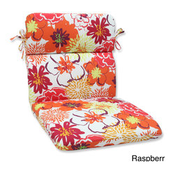Pillow Perfect - Pillow Perfect Floral Fantasy Rounded Corners Chair Outdoor Cushion - Relax in style on this attractive weather- and UV-resistant outdoor chair cushion with rounded corners. Infused with a floral pattern,this chair cushion includes a soft fiber filling,and durable spun polyester cover.