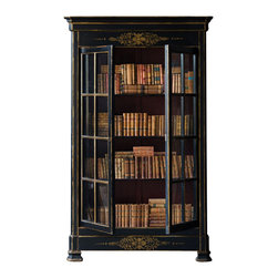 Marco Polo Imports - Zarrina Cabinet - Timeless cabinet with four spacious shelves, two doors, and an old world style door locks with a key. Completed by a classic aged black finish with ornate gold painted borders & designs.