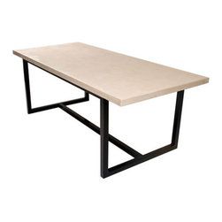 "Hart Concrete Design - Stretcher Dining Table in Mesa, 96"" - The Stretcher Dining Table is handmade by Hart Concrete Design in the United States. The Stretcher dining table has a 1"" polished concrete top and a 1"" X 1"" Steel Tube base powder coated in black."