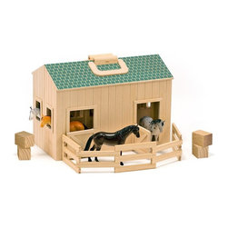 """Melissa & Doug - Melissa and Doug Fold & Go Stable - 3704 - Shop for Animal Playsets from Hayneedle.com! Your little one will love taking care of her horses with the Melissa and Doug Fold & Go Stable. Complete with four horses this stable features a stall for each horse as well as realistic doors that slide and swing open. A wooden ladder leads to upper level which includes bales of hay for the horses to eat. A folding corral is included so the horses stay safely inside while the green roof is designed to appear shingled and adds a fun decorative touch. Recommended for ages three and up this stable also has a chunky handle making it easy to tote this stable around. Additional Features Crafted from wood Doors slide and swing realistically Folding corral is included Green roof adds a decorative touch Chunky handle makes this barn easy to bring along About Melissa & Doug ToysSince 1988 Melissa & Doug have grown into a beloved children's product company. They're known for their quality educational toys and items and have grown in double digits annually. The Melissa & Doug company has been named Vendor of the Year by such great retailers as FAO Schwarz Toys R Us and Learning Express and their toys have been honored as """"Toys of the Year"""" by Child Magazine FamilyFun Magazine and Parenting Magazine. Melissa & Doug - caring quality children's products."""