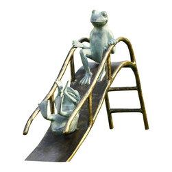 "SPI - Sliding Frogs Garden Sculpture - -Size: 18"" H x 25"" W x 6.5"" D"