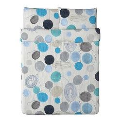 Gunnel Sahlin - EIVOR FÄRGA Duvet cover and pillowcase(s) - Duvet cover and pillowcase(s), white, blue