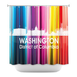 DiaNoche Designs - Shower Curtain Unique from DiaNoche Designs - Angelina Vick - City II Washington - DiaNoche Designs works with artists from around the world to bring unique, artistic products to decorate all aspects of your home.  Our designer Shower Curtains will be the talk of every guest to visit your bathroom!  Our Shower Curtains have Sewn reinforced holes for curtain rings, Shower Curtain Rings Not Included.  Dye Sublimation printing adheres the ink to the material for long life and durability. Machine Wash upon arrival for maximum softness on cold and dry low.  Printed in USA.