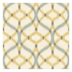 Aqua & Yellow Ikat Trellis Fabric - Classic trellis meets updated ikat in interlocking hues of soft aqua & yellow on ivory textured cotton.