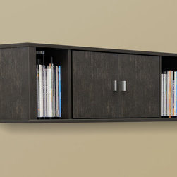 Prepac - SOHO Washed Ebony Floating Hutch - The perfect addition to a home office or entertainment system,this floating desk hutch offers a versatile storage solution. Durably crafted and easy to mount,this attractive hutch provides a stylish way to keep your environment neat and orderly.