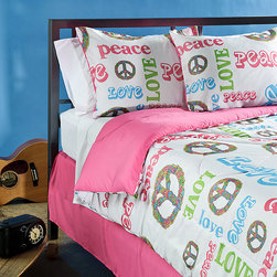 Grand Luxe - Peace Time Full-size 4-piece Comforter Set - This polyester pink-and-white full-size comforter set will brighten up any girl's or teen's bedroom with fun. The colorful peace signs and stylish lettering are easily seen against the pure white background of all four comforter set pieces.
