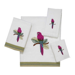 Avanti Linens - Parrot 4 Piece Cotton Towel Set by Avanti Linens - Sheared velour towel is 100% cotton exclusive of embellishments. Towel made in Canada, embellished in USA of imported materials. Machine wash warm, tumble dry low. Do not bleach.
