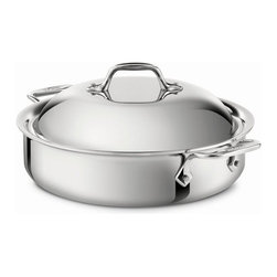All-Clad - All-Clad Stainless Steel 4 Qt. Sauteuse w/Lid - The sauteuse features a large surface area and tall, straight sides, the ideal design for searing foods then adding liquid to braise or deglaze. The pan's distinctive domed lid holds in heat and circulates moisture, delivering tender, flavorful results. Offering the convenience of creating all-in-one-pan meals, the versatile sauteuse effortlessly transfers from stovetop to oven to table, all with the ease and comfort of its large loop handles.