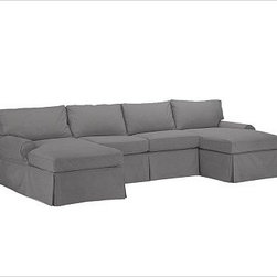 "PB Basic Slipcovered Sectional 3-Piece U-Shaped Sectional, Down-Blend Cushions, - Our PB Basic Collection is crafted with the same attention to quality, detail and durability that's been the hallmark of American-made furniture for hundreds of years. This sectional allows you to choose the configuration you need. 134"" w x 61"" d x 36"" d x 36"" h {{link path='pages/popups/PB-FG-Basic-3.html' class='popup' width='720' height='800'}}View the dimension diagram for more information{{/link}}. {{link path='pages/popups/PB-FG-Basic-6.html' class='popup' width='720' height='800'}}The fit & measuring guide should be read prior to placing your order{{/link}}. Choose polyester wrapped cushions for a tailored and neat look, or down-blend for a casual and relaxed look. Proudly made in America, {{link path='/stylehouse/videos/videos/pbq_v36_rel.html?cm_sp=Video_PIP-_-PBQUALITY-_-SUTTER_STREET' class='popup' width='950' height='300'}}view video{{/link}}. For shipping and return information, click on the shipping info tab. When making your selection, see the Special Order fabrics below. {{link path='pages/popups/PB-FG-Basic-7.html' class='popup' width='720' height='800'}} Additional fabrics not shown below can be seen here{{/link}}. Please call 1.888.779.5176 to place your order for these additional fabrics."