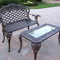 Oakland Living - End Table and Loveseat Set in Antique Bronze - Set includes End Table and Loveseat. Made of Rust Free Cast Aluminum Construction
