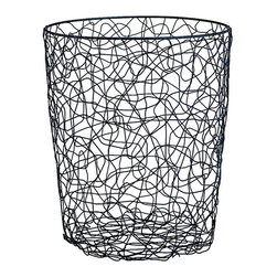 Wire Chaos Round Wastebasket - I would actually use this office waste basket in every room.
