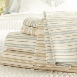 Henri Ticking Stripe Organic Cotton Sheet Set, Cal. King, Dark Porcelain Blue - Our classic French shirting stripe is the perfect foundation for a well-dressed bed, layering beautifully with everything from toiles to florals. Made of pure organic cotton. 200 thread count. Yarn dyed for vibrant, lasting color. Set includes flat sheet, fitted sheet and two pillowcases (one with twin). Pillow insert sold separately. Machine wash. Imported.