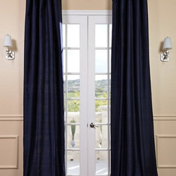 Navy Textured Dupioni Silk Curtain - Dupioni silk has been around for centuries. The beautiful luster and sheen of this textured silk is timeless & will work in any décor. Whether your home is classic & traditional or modern & contemporary our Textured Dupioni Silk curtains will add color & beauty to any space.