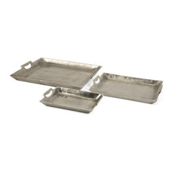 iMax - Lindi Aluminum Trays, Set of 3 - Unique in texture, the Lindi aluminum trays feature a slightly rough texture. This set of three trays are versatile, stackable and full of endless possibilities.