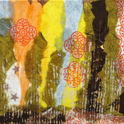 In The Woods 3 (Original) by Devika Keskar - In this organic, abstract work of art, I have used a variety of colored and textured papers. The layering and positioning of papers creates a lot of interest and texture in this bright and vivid modern piece. Will transport you in the woods with dappled sunlight and blue sky.