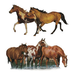 York Wallcoverings - Wild Horses Pony 24pc Self-Stick Wall Accent Stickers Set - Features: