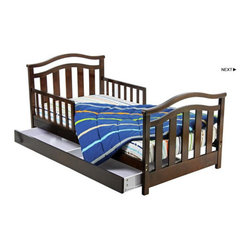 """Dream On Me - Elora Toddler Bed with Storage Drawer - The Dream On Me Elora Toddler Bed is designed low to the floor so that your toddler can safely get in and out of bed. It is the perfect transition for toddlers who have outgrown their cribs but are still too small for an adult bed. Include safety guard rails for piece of mind security and wooden mattress support rails that provide durability and support without the use of a box spring. Accommodates a standard size Dream On Me mattress, sold separately. Comes complete with all necessary tools for easy assembly. Features: -Material: Solid wood.-Elegant design.-Roomy storage drawer.-Non-toxic.-Distressed: No.-Powder Coated Finish: No.-Gloss Finish: No.-Frame Material: Solid pine wood.-Hardware Material: Metal hinges.-Scratch Resistant: No.-Fits Crib Mattress: Yes.-Recommended Mattress Height: 4"""".-Mattress Profile Maximum: 4"""".-Mattress Profile Minimum: 2"""".-Box Spring Included: No.-Slats Required: Yes.-Number of Slats Required: 6.-Slat System Included: Yes.-Number of Slats Included: 6.-Center Support Legs: No.-Recommended Age Range: 18 months - 7 years.-Also Suitable for Adults: No.-Weight Capacity: 45 lbs.-Eco-Friendly: Yes.Specifications: -CPSIA or CPSC Compliant: Yes.-CARB Compliant: Yes.-JPMA Certified: No.-ASTM Certified: Yes.-ISTA 3A Certified: Yes.-General Conformity Certificate: Yes.-Green Guard Certified : No.Dimensions: -Overall Height - Top to Bottom: 28"""".-Overall Width - Side to Side: 29"""".-Overall Depth - Front to Back: 53.5"""".-Headboard Height Top to Bottom: 27"""".-Headboard Width Side to Side: 29"""".-Footboard Height: 28"""".-Footboard Width - Side to Side: 23"""".-Overall Product Weight: 38 lbs."""