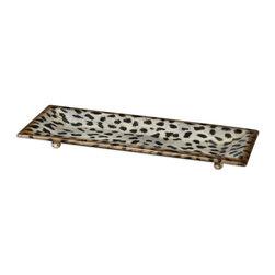 Matthew Williams - Matthew Williams Malawi Transitional Decorative Tray X-89791 - Burnished cheetah print over a ceramic base.
