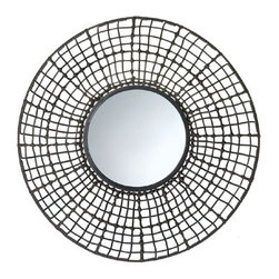 n/a - Knotted Rattan Wall Mirror - If your wall needs a pop or pizzazz, this is it!  This circular wall mirror has an intricate wire mesh outer frame wrapped and knotted with rattan-like material that is visually interesting, textural, and stunning.  50% PPC, 50% iron.