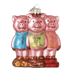 Midwest CBK - Three Little Pigs Christmas Tree Ornament Glass Piggies Fairy Tale Holiday Gift - Three Little Pigs Christmas Ornament