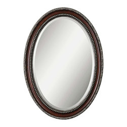 """Uttermost - Traditional Uttermost Montrose 35"""" High Mahogony Wall Mirror - This gorgeous wall mirror has the appearance of a treasured heirloom piece with its oval shape and rich mahogany wood tone finish. Inner and outer edges of the frame are detailed in antiqued silver and a dark gray wash. Mirror glass has a generous 1 1/4"""" bevel. From Uttermost. MDF and glass construction. Distressed dark mahogany finish. Antiqued silver details and dark gray glaze. 35"""" high. 25"""" wide. 1 1/2"""" deep. Glass only is 30"""" high and 20"""" wide.  MDF and glass construction.    Distressed dark mahogany finish.   Antiqued silver details and dark gray glaze.   35"""" high.   25"""" wide.   1 1/2"""" deep.   Glass only is 30"""" high and 20"""" wide."""