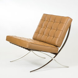 IFN Modern - Barcelona Chair Reproduction - Italian Leather, Brown - Our Barcelona chair reproduction was inspired by Mies Van Der Rohe's mid-century furniture. The main source of inspiration for this piece comes from the 1929 German Pavilion where Mies and Lilly Reich showcased a gorgeous chair now known worldwide as the Barcelona Chair.