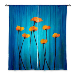 """DiaNoche Designs - Window Curtains Unlined - Tara Viswanathan Eternal Poppies - DiaNoche Designs works with artists from around the world to print their stunning works to many unique home decor items.  Purchasing window curtains just got easier and better! Create a designer look to any of your living spaces with our decorative and unique """"Unlined Window Curtains."""" Perfect for the living room, dining room or bedroom, these artistic curtains are an easy and inexpensive way to add color and style when decorating your home.  The art is printed to a polyester fabric that softly filters outside light and creates a privacy barrier.  Watch the art brighten in the sunlight!  Each package includes two easy-to-hang, 3 inch diameter pole-pocket curtain panels.  The width listed is the total measurement of the two panels.  Curtain rod sold separately. Easy care, machine wash cold, tumble dry low, iron low if needed.  Printed in the USA."""