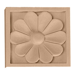 """Ekena Millwork - 3 1/2""""W x 3 1/2""""H x 3/4""""D Medium Medway Rosette, Alder - 3 1/2""""W x 3 1/2""""H x 3/4""""D Medium Medway Rosette, Alder. Our rosettes are the perfect accent pieces to cabinetry, furniture, fireplace mantels, ceilings, and more. Each pattern is carefully crafted after traditional and historical designs. Each piece comes factory primed and ready for your paint. They can install simply with traditional adhesives and finishing nails."""