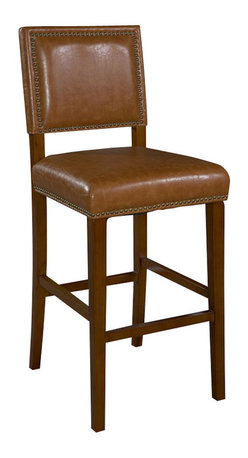 """Linon - Linon Brook Caramel Bar Stool, Brown - Linon - Bar Stools - 0233CARM01KDU -Create a contemporary or classical look in your kitchen, dining or home pub area with the sleek shape and style of this medium walnut finish 30"""" Brook Counter Stool. Solid wood legs give this courtly stool additional strength ensuring years of everyday use. The padded cushion and seat back provides optimum comfort for you and your guests and is topped with durable caramel colored vinyl that is stain resistant, fade resistant and features tightly woven threads that won't break, mat or peel. Classic nail head trim accents the stools lines."""