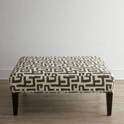 """Horchow - Greek Shadow Key Ottoman - Get lost in an elegant maze of Greek keys displayed on this fine ottoman accented with pewter nailhead trim. Handcrafted of select and engineered hardwoods. Upholstery is cotton/rayon blend. 40""""Sq. x 17""""T. Made in the USA. Boxed weight, approximate..."""