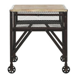 Safavieh - Linus Rolling End Table - The nuts and bolts of rustic-chic life are in the details. The Linus Rolling Cart brings the practical magic of industrial style to any room. Perfect to de-clutter a kitchen or combat office overflow, its fir wood with natural finish for a reclaimed look makes it an moveable aesthetic coup.