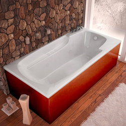 Venzi - Venzi Aesis 36 x 60 Rectangular Air & Whirlpool Jetted Bathtub - The Aesis collection features luxuriously designed corner bathtubs, with a traditional oval interior. Molded floor pattern prevents bathers from falling, while adding a piquant flavor to the bathtub's design. Lightweight construction makes installation quick and easy. Interior armrests provide luxury and comfort.