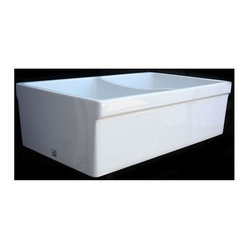 Whitehaus - 33 in. Double Bowl Reversible Fireclay Farmha - Color: BiscuitQuatro Alcove Reversable double bowl fireclay sink . Decorative 2 1/2in. lip on one side and 2in. lip on the other. 3 1/2in. offset center drain. Sink is finished on all four sides. Sink tapers slightly on sides. Outer Dimensions: 32 3/4in. x 20in. x 10in.. Large Bowl Dimensions: 15in. x 18in. x 9in.