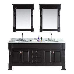 """Design Elements - Marcos 72"""" Double Sink Vanity Set with Carrara White Marble Countertop in Espres - The Marcos 72"""" Double Sink Vanity Set is constructed with Solid wood and provides a transitional design perfect for any bathroom remodel. The ample storage in this free-standing vanity set includes three fully functional drawers and two double-door cabinets each accented with brushed nickel hardware. This particular cabinet is only available in espresso and comes as a complete set with a carrara white marble counter top and two matching framed mirrors."""
