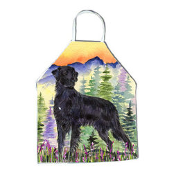 Caroline's Treasures - Flat Coated Retriever Apron - Apron, Bib Style, 27 in H x 31 in W; 100 percent  Ultra Spun Poly, White, braided nylon tie straps, sewn cloth neckband. These bib style aprons are not just for cooking - they are also great for cleaning, gardening, art projects, and other activities, too!