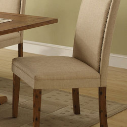Coaster - Parkins Parson Chair, Set of 2 - The Parkins collection will help you create a sophisticated and distinctive dining area in your home. Made of poplar veneer, the bold shaped table pedestal base features gentle curves. The high back parson chairs feature simply curved crests in a soft fabric upholstery. Perfect for a snack with friends, casual weekend brunch, or afternoon tea, this dining group will complement your home decor.